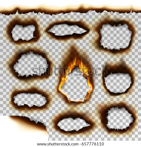Collection of burnt faded holes piece burned paper realistic fire flame vector illustration Foto d'archivio ©