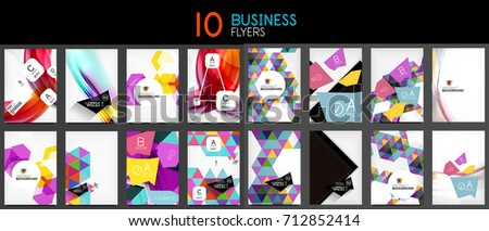 Collection of business annual report covers and flyers designs, book or leaflet page #712852414