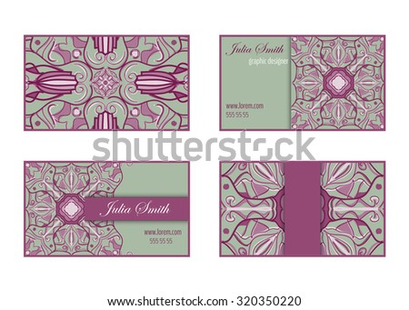 Collection of business cards with decorative symmetric vintage ornaments. Vector templates with place for text