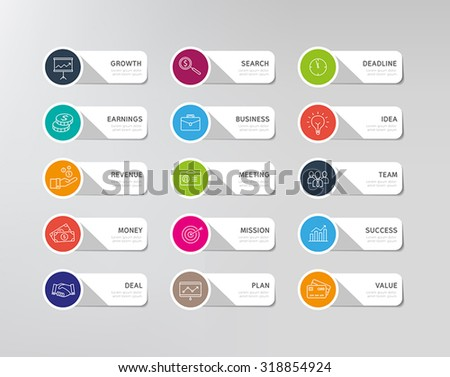 Collection of business icons - stickers for infographics chart or any web or print design. Modern, flat design style. #318854924