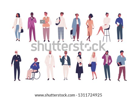 Collection of business people, entrepreneurs or male and female office workers of various ethnicity and age isolated on white background. Multinational company set. Flat cartoon vector illustration.