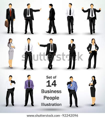 Collection of business people in different poses