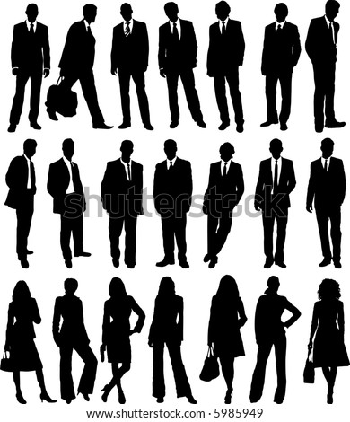 of business people in silhouette in different poses - stock vector