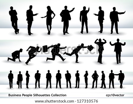 Collection of business people outlines in different positions, mainly in the theme of presentation and running #127310576