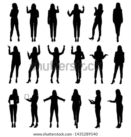 Collection of business woman wearing suit using tablet and other business situations silhouettes.  Easy editable vector illustration.