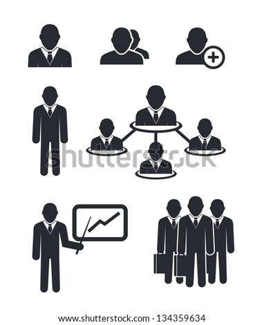 Collection of businessmen silhouettes isolated on white