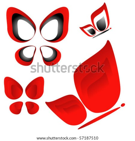 collection of butterfly icons, vector design