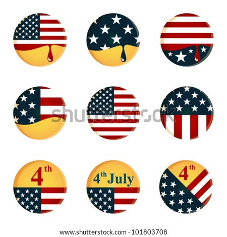 collection of buttons with American flag and 4th of July Independence day theme