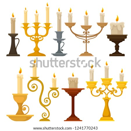 Collection of candles in candlesticks, vintage candle holders and candelabrums vector Illustration on a white background Stockfoto ©