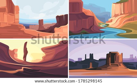 collection of canyons with red