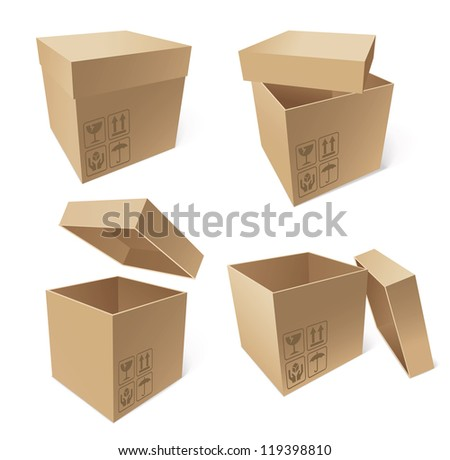 Collection of cardboard boxes isolated on white background, vector illustration