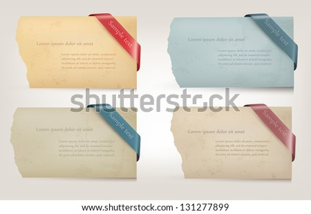 Collection of cardboard paper banners with ribbons. Vector