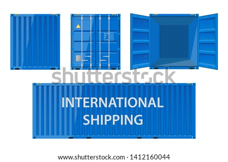 Collection of cargo containers in blue. Cargo shipping container for the transport of international cargo. Shipping container for logistics and transportation. Vector Illustration.