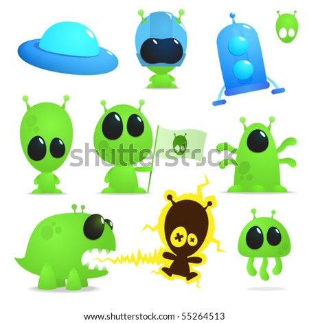 Collection of cartoon aliens, monsters and spaceships