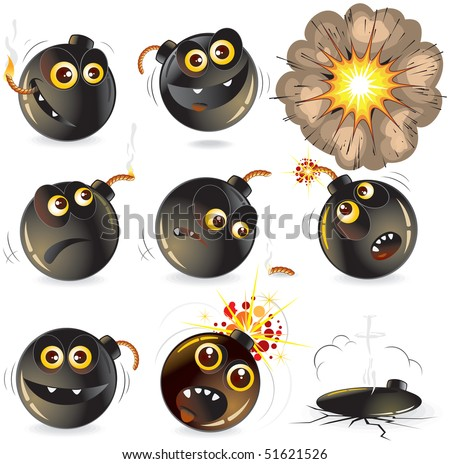 Collection of cartoon bomb expression isolated funny vector emoticons