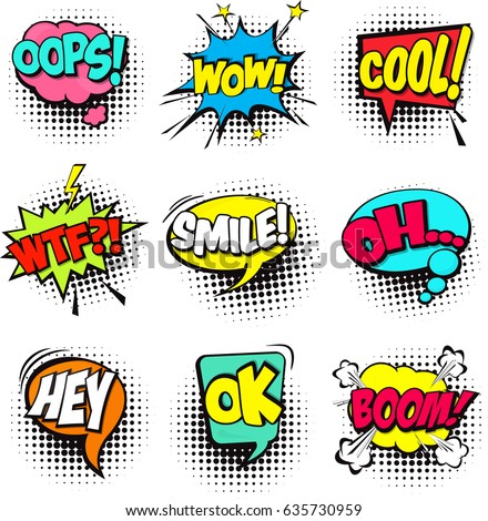 Collection of Cartoon, Comic Speech Bubbles. Colored Dialog Clouds with Halftone Dot Background in Pop Art Style. Vector Illustration for Comics Book. Speech Bubbles with Word and Sound Illustration