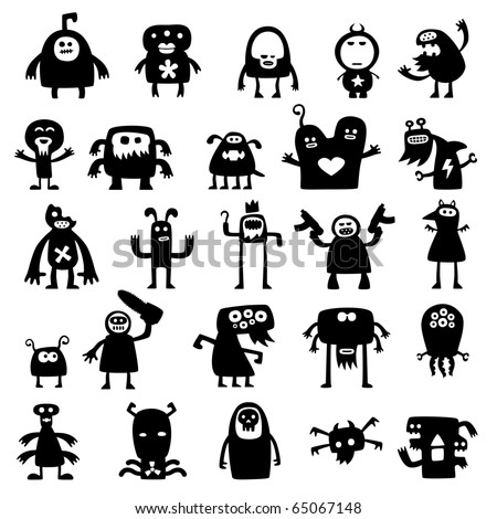 Collection of cartoon crazy funny monsters silhouettes