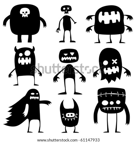 Collection of cartoon funny Halloween monsters silhouettes
