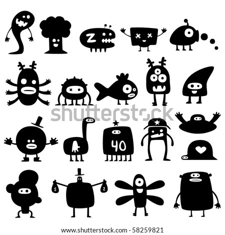 Collection of cartoon funny monsters silhouettes