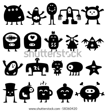 Stock Photo Collection of cartoon funny monsters silhouettes