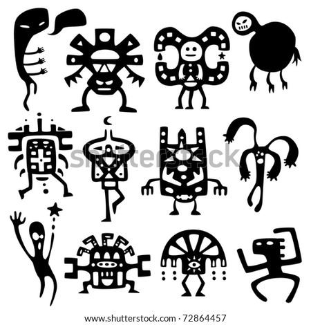 Collection of cartoon funny shamans and spirits silhouettes