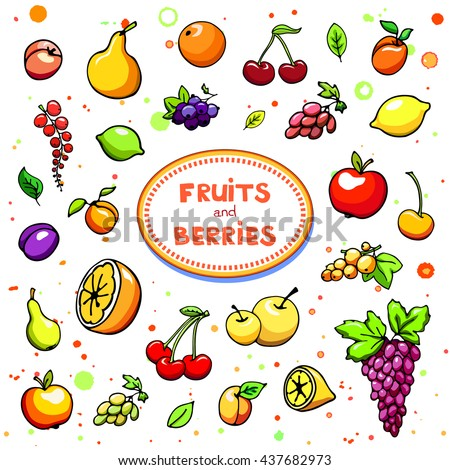 Collection of cartoon juicy fruits and berry. Vector illustration. Set of colorful fruit and berries icons. Isolated on white. Fruit web icon hand drawn in doodle style. On watercolor drops background