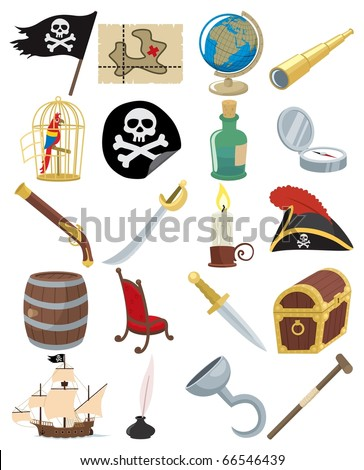 Collection of 20 cartoon pirate accessories.