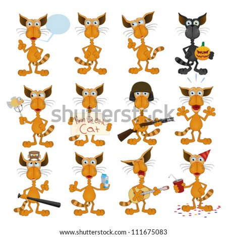 Collection of Cartoon Red Cats