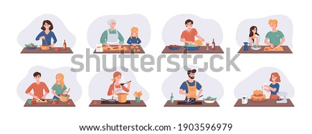 Collection of cartoon smiling people cooking on home kitchen table. Various cartoon set man, woman, couple family preparing food. Vector illustration isolated on white background Photo stock ©