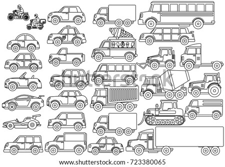 Collection of Cartoon Transport Icons. Car, Bus, Truck, Bike, Lorry, Dozer, Rally Car, Cargo Truck. Vector Set. Coloring Pages Contour
