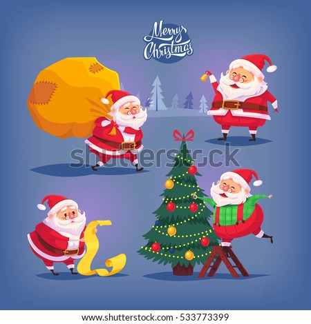 Collection of cartoon vector Santa Claus icons. Christmas illustration