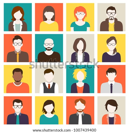 Collection of cartoons - human heads, avatars. Can be used as sample profile pictures.