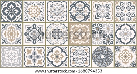 Collection of 18 ceramic tiles in turkish style. Seamless colorful patchwork from Azulejo tiles. Portuguese and Spain decor. Islam, Arabic, Indian, Ottoman motif. Vector Hand drawn background Stockfoto ©
