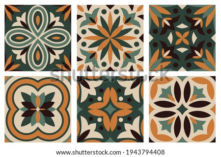 collection of 6 ceramic tiles