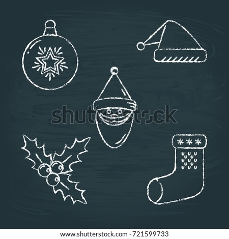 Collection of chalk sketch New Year icons on blackboard. Christmas ball, Santa hat, Santa Claus, mistletoe branch and traditional stocking.