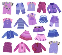 collection of children's clothes isolated on white background