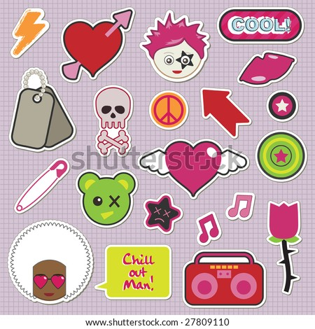 collection of children's stickers - emo and pinks