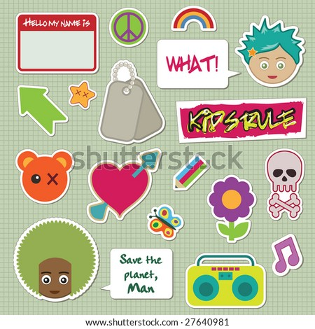 collection of children's stickers - faces, tags and objects