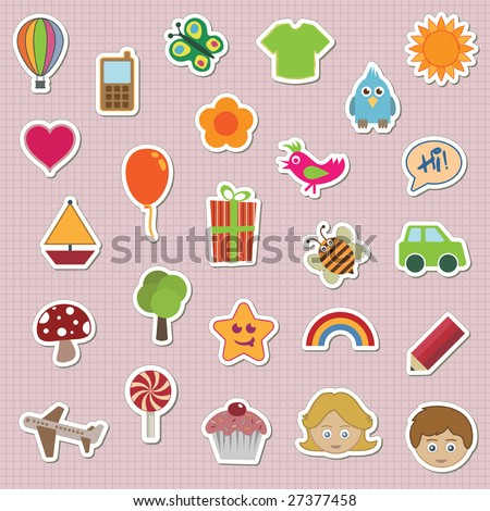 collection of childrens stickers