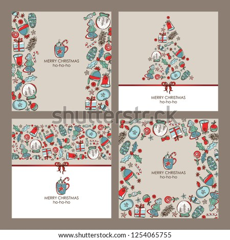 Collection of Christmas and New Year cards with Christmas decorations and holiday tree. Vector hand drawn illustration #1254065755