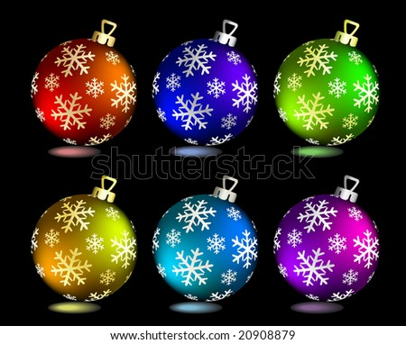 Collection of Christmas balls on black. Vector illustration
