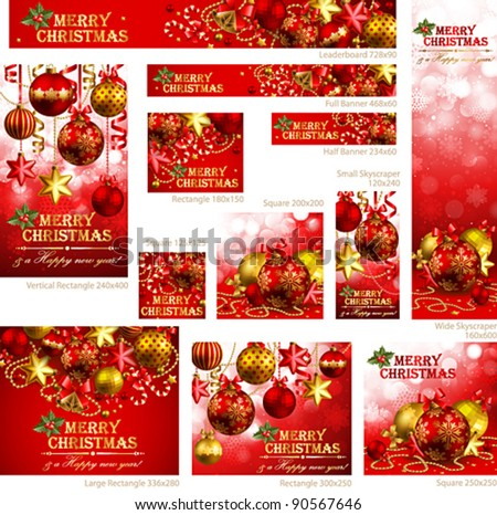 Collection of Christmas banners with baubles and place for text. Vector illustration.