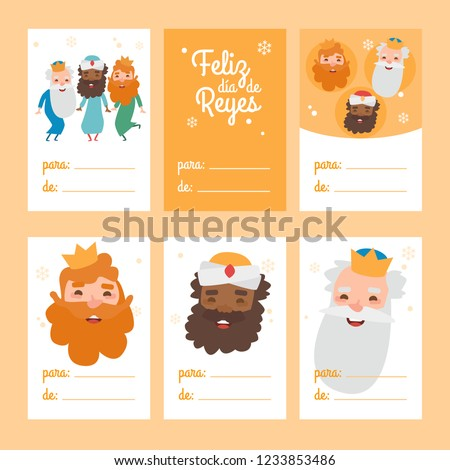 Collection of 6 Christmas card templates. Vector illustration. Template for Greeting Wise men Scrap booking, Congratulations, Invitations. Yellow. Happy Epiphany written in Spanish