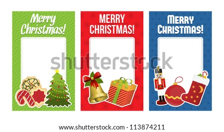 Collection of christmas cards with space for text. Vector illustration.