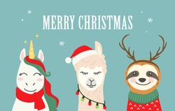 Collection of Christmas cartoon characters. Merry Christmas illustrations of cute unicorn, llama, alpaca, sloth with accessories like Santa hat, sweater, scarf, reindeer antlers