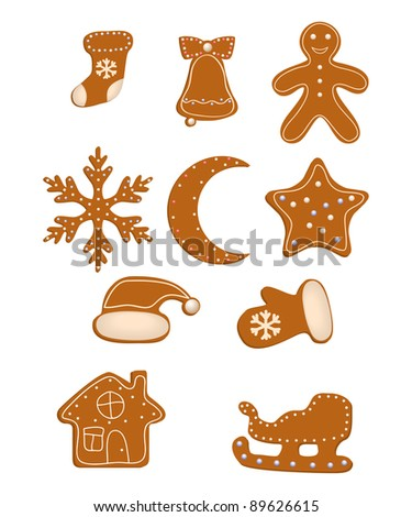 Collection of Christmas cookies isolated on a white. Vector illustration