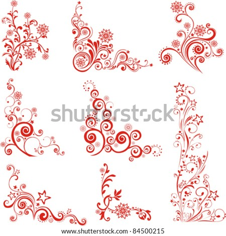 Collection of Christmas design elements isolated on White background. Vector illustration