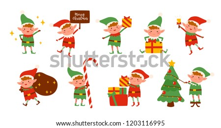 Collection of Christmas elves isolated on white background. Bundle of little Santa's helpers holding holiday gifts and decorations. Set of adorable cartoon characters. Flat vector illustration.