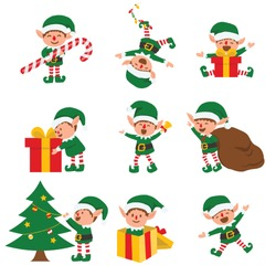 Collection of Christmas elves isolated on white background. funny and joyful santa helper sending holiday gift and decoration christmas tree . vector illustration.