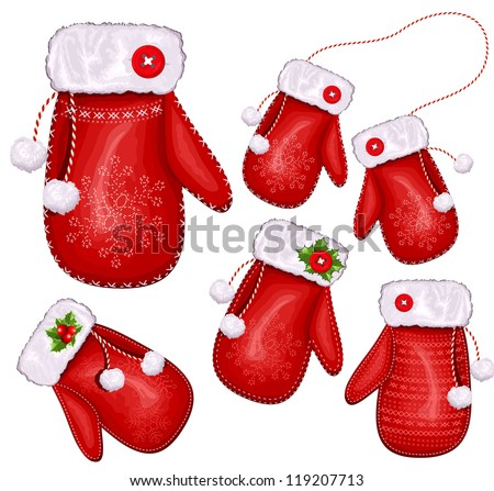 Collection of Christmas gift mittens. vector illustration